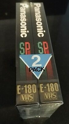 2 x sealed PANASONIC E-180 / 3 hours blank vhs video tapes new