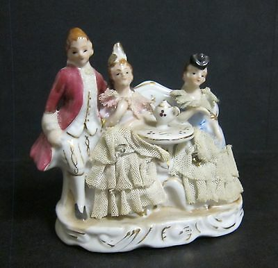 Lovely Capodimonte Porcelaine Scene Three People Drinking Tea