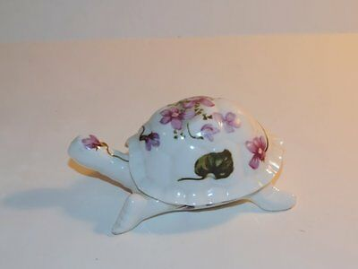 Vintage 2 Pc. Turtle Trinket Box Porcelain Ceramic Purple Lilac Violets