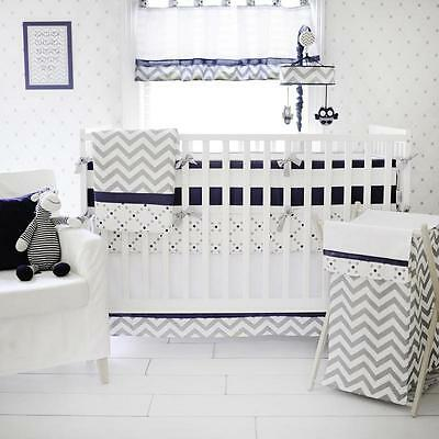 My Baby Sam Out Of The Blue 3-Piece Crib Bedding Set Blue/Grey *New*