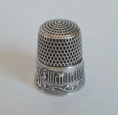 Sterling Silver Thimble - Simons - A Stitch in Time Saves Nine