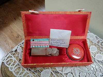 Vintage Boxed Set Of Chinese Dragon Soapstone ink Seal