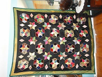 Vintage Silk And Velvet Quilt Top 90 X 72