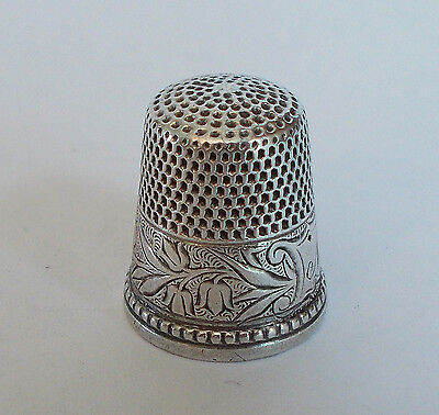 Sterling Silver Thimble - Ketcham & McDougall - Damask Lily of the Valley