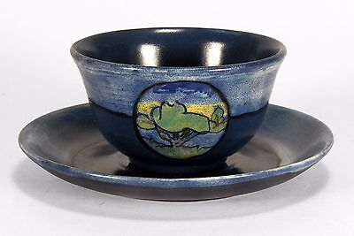 PRP Saturday Evening Girls pottery cup & saucer landscape arts & crafts blue