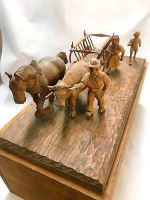 Antique German Hand Carved Scene-Family With Cart And Animals