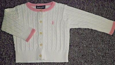 Ralph Lauren 9 Month Sweater Long Sleeve White Pink Cotton Cardigan Preowned