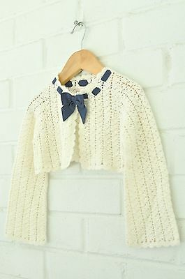 Janie & Jack Ivory Cotton Rabbit Hair Cropped Cardigan with Navy Bow Size 2T