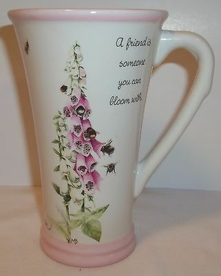 Marjolein Bastin mug, Pink foxglove cup, A friend is someone you can bloom with.