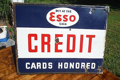 Vintage ESSO Porcelain Gas Oil Sign - Credit Cards Honored Double Sided