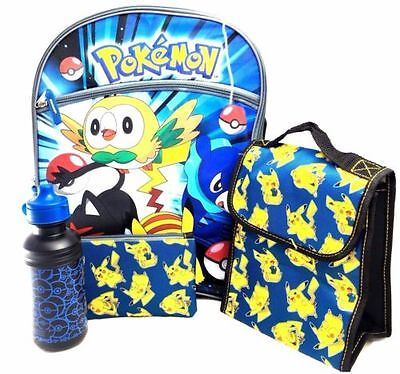 """Pokemon 16"""" Large Backpack + Lunch Bag-Pencil Case-Water Bottle 5 Items"""