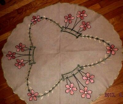Antique Arts & Crafts flax linen embroidered round tablecloth spectacular~