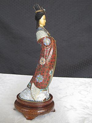 Antique Vintage Chinese Cloisonne Guan Yin Woman Figurine