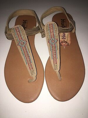 20eff0e410e WOMENS T-STRAP SANDALS Size M (7-8) Mudd New With Tags Brown Tan ...
