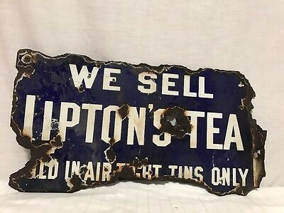 Rare We Sell Liptons Tea Double Sided Flanged Porcelain Sign