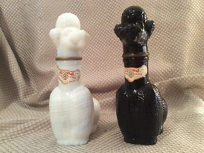 "Black & White Poodle Rose' Wine Bottles 6 3/4""  Glass"