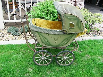 Vintage Iron/Wicker Baby Carriage Buggy Green Wood Spoke Wheels & Windows