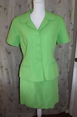 Vintage Christian Dior 1980s Skirt Power Suit Size 12 Green Qulited Made In USA