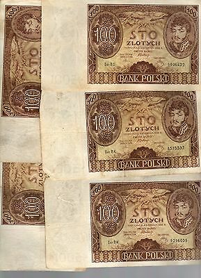 POLAND LOT:  FIVE  (5)  x  100 ZLOTYCH  (1934)  (BW 9296059)