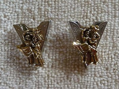 Vintage Western Square Dancing Collar Tips. Silver and Gold Tone, Exc