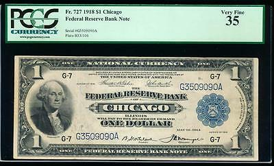 AC Fr 727 1918 $1 FRBN Chicago PCGS 35 spread eagle!