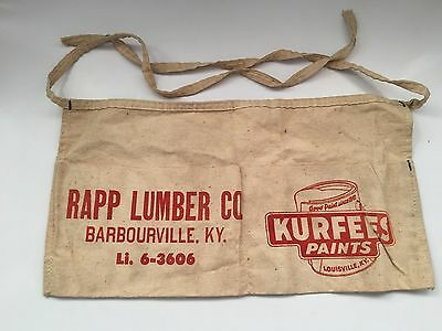 Vintage Rapp Lumber Co. Carpenters Apron Kurfees Paint  Barbourville Ky