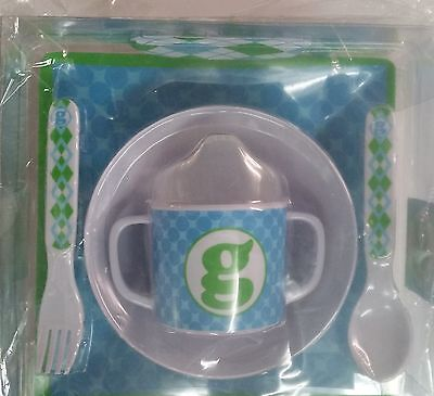 Mud Pie 5-Pc Baby Boy Initial Plate Bowl Sippy Cup Fork & Spoon Set,initialg
