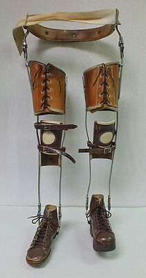Antique STEAMPUNK Medical Metal Child Right & Left Leg Brace Foot Brace