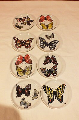 VTG Piero Fornasetti Multi Color Butterfly Moth Coasters Set of 8 Milano Italy