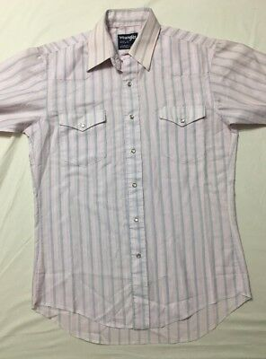 Vtg Wrangler Western Dress Shirt 40 Chest 32 Long Made In USA