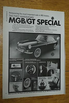 1st Anniversary MGB/GT Special 1967 Playboy Magazine ad - Very Good++