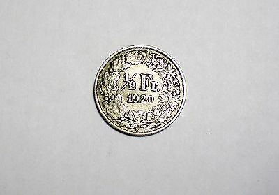 1920 B Switzerland 1/2 Franc Silver Coin