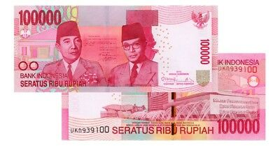 Indonesia  Rupiah 2 (Two) Million 20 X 100,000 = 2,000,000 Rupiah  Uncirculated