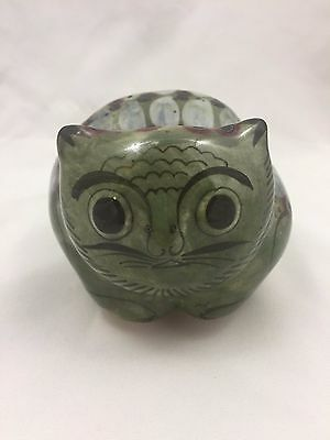 Ceramic Cat Figurine-Made In Mexico-Beautiful Puke Green Color-5 Inches Long