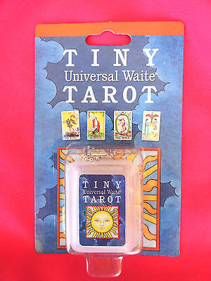 """Tiny Universal Waite Tarot Deck New in a Keyring Case for Travel 1-3/8"""" tall"""
