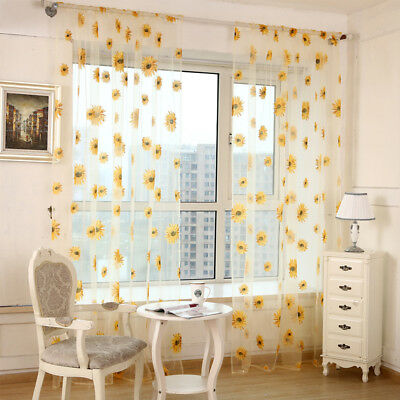 Floral Divider Totem Curtain Window Sheer Valance Voile Door Room Drape