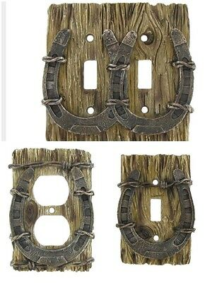 Rustic Western HorseShoe Light Switch Cover Single Double Outlet Covers Decor