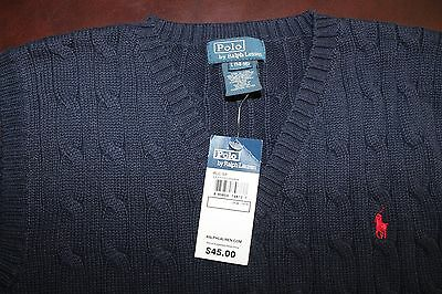 Polo Ralph Lauren Youth Boy Sweater Cable Knit Vest Navy Blue Size 14-16 NWT