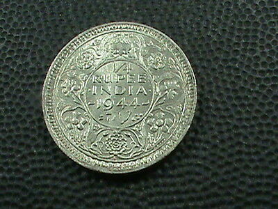INDIA  -  BRITISH   1/4  Rupee   1944  -  B   BRILLIANT  UNCIRCULATED  ,  SILVER