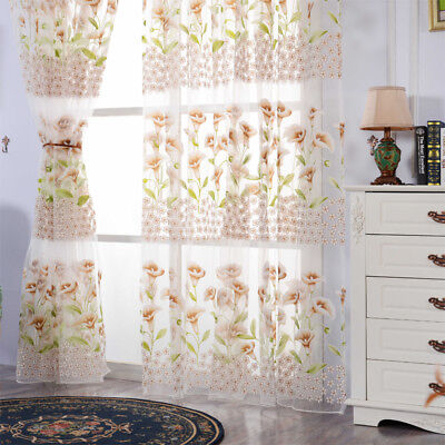 Rural Floral Type Drape Panel Sheer Scarf Valance Tulle Voile Window Curtain