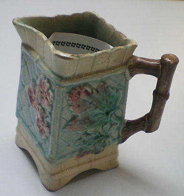 Old Unusual Etruscan Majolica Square Pitcher - flower & leaf bamboo handle
