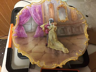 """Antique Limoges France Hand Painted 15 1/2"""" Charger Kissing Couple Signed Henry"""