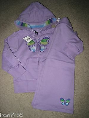 Nwt Baby Gap Girls Flower Child Purple Butterfly Hoodie & Pants Set Outfit 3 2