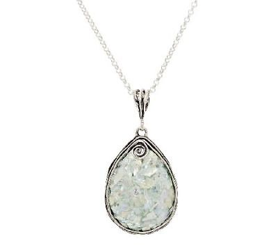 "14K White Gold Over Pear Shaped Roman Glass Pendant w/Chain by Or Paz 18""L"