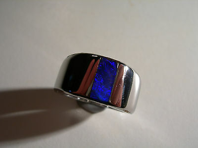 Deep Blue Boulder Opal inlay in Stainless Steel Ring (Lot 291)