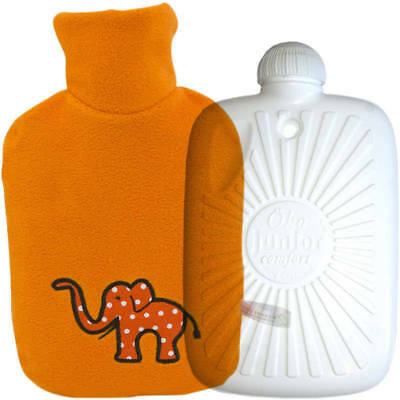 Hugo Frosch Eco Hot Water Bottle With Luxury Fleece Cover Elephant 0.8L