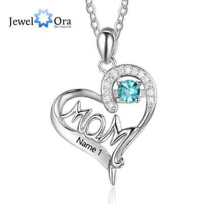 5fc587d0d73c2 PERSONALISED HEART 5 Birthstone Name Necklace Any Names Silver ...