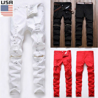 USA Men's FIT Skinny Runway Straight Zipper Denim Pants Destroyed Ripped Jeans