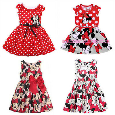 Summer Toddler Girls Dress Princess Baby Mickey Minnie Mouse Dresses 1-7Years AU
