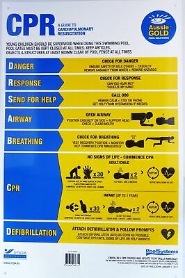 CPR Pool Sign 2019 updated DRSABCD PVC Swimming Pool Safety Sign - Aussie Gold